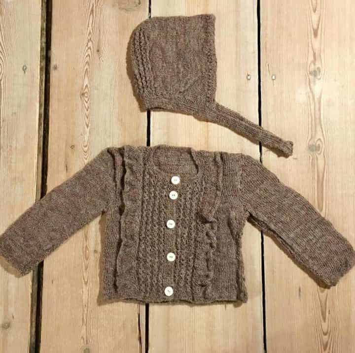 Instagram user @KJSRoom image of Knitted Bonnet and Sweater in brown wool