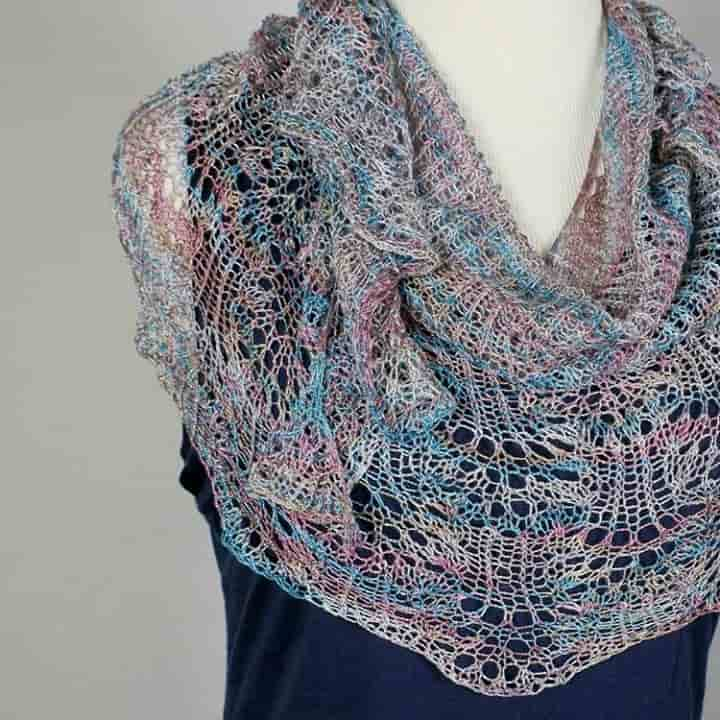 @trixieknits 100% Silk Laceweight Shawl in soft shades of blue, pink and cream