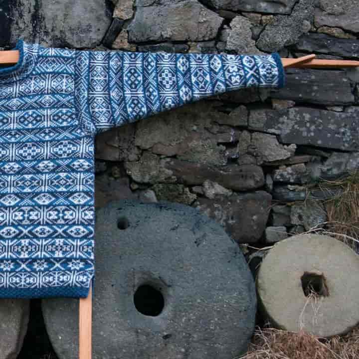 Fair Isle Knitwear by Mati Ventrillon Design in blues and white