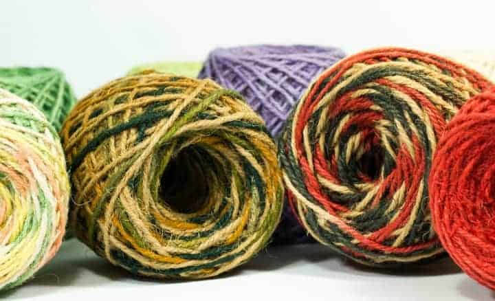 Hemp Yarn in multiple self striping colors. Hemp Yarn makes lovely shawls.