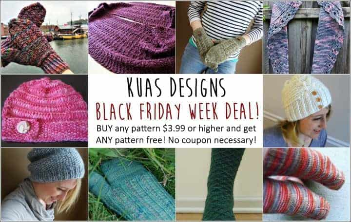 Knitting Up a Storm Buy One Get One Free Black Friday Sale. Buy any Knitting Up A Storm Designs pattern $3.99 or higher, and get ANY pattern free! Multiple purchases welcome, no coupon necessary.