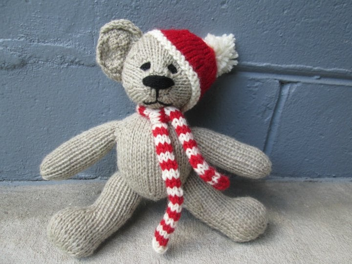Limited Edition Christmas Teddy Bear Knitting Pattern by Gregory Patrick of Madman Knitting
