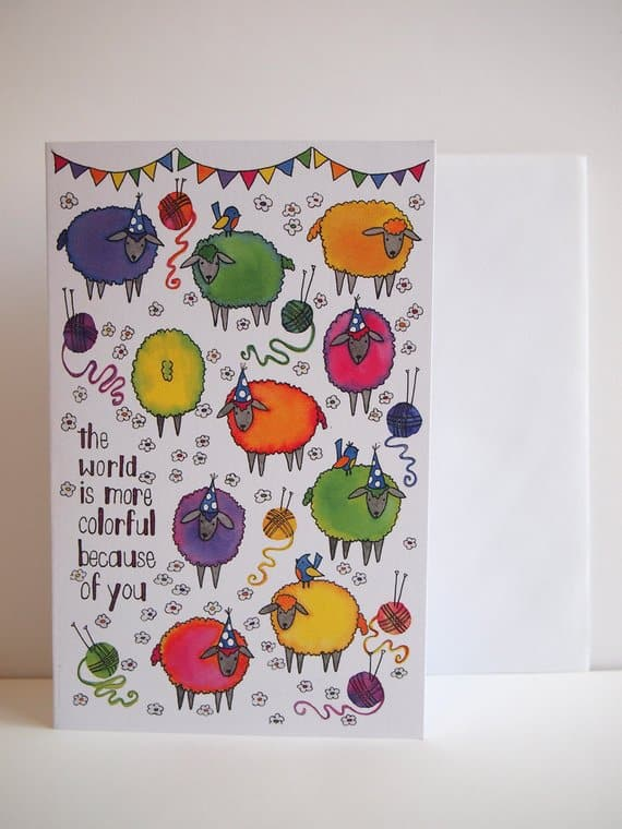 Happy Birthday Card suitable for knitters