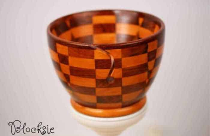 Blocksie Yarn Bowl Checkerboard wood