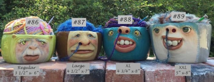 The Art of Lucky Stradley Sculpted Yarn Bowl Face in various sizes