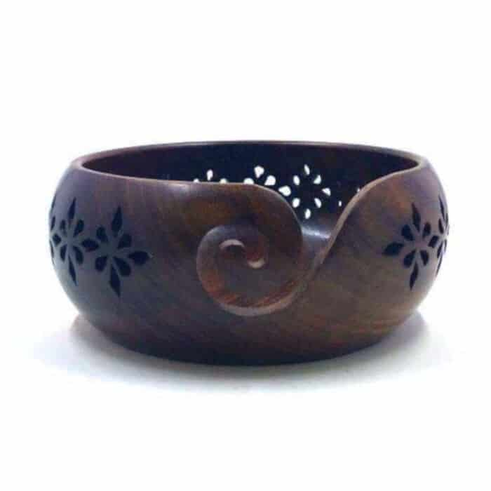 Flower-Crown-Wooden-Yarn-Bowl
