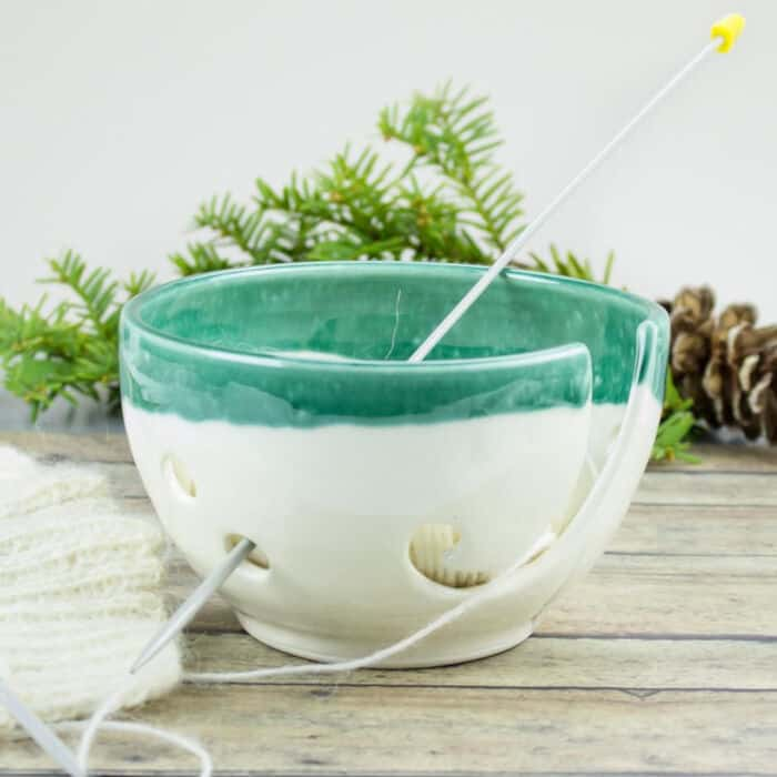 Petite-White-Mint-Green-Yarn-Bowl