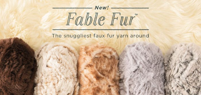 Fable Fur by Knit Picks. Add a stylish trim to your next accessory, or knit up a gorgeous wrap or afghan exclusively in  this premium, 100% polyester yarn.