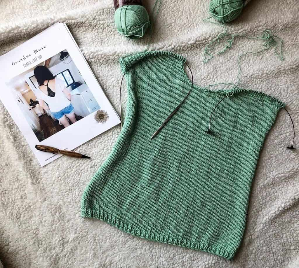 Test knitting by Laurel. Interchangeables are so versatile!. Used here to secure stitches on the cord with the end stops. Photo credit: Laurel @AlabasterPurl on Instagram. (Used with permission)