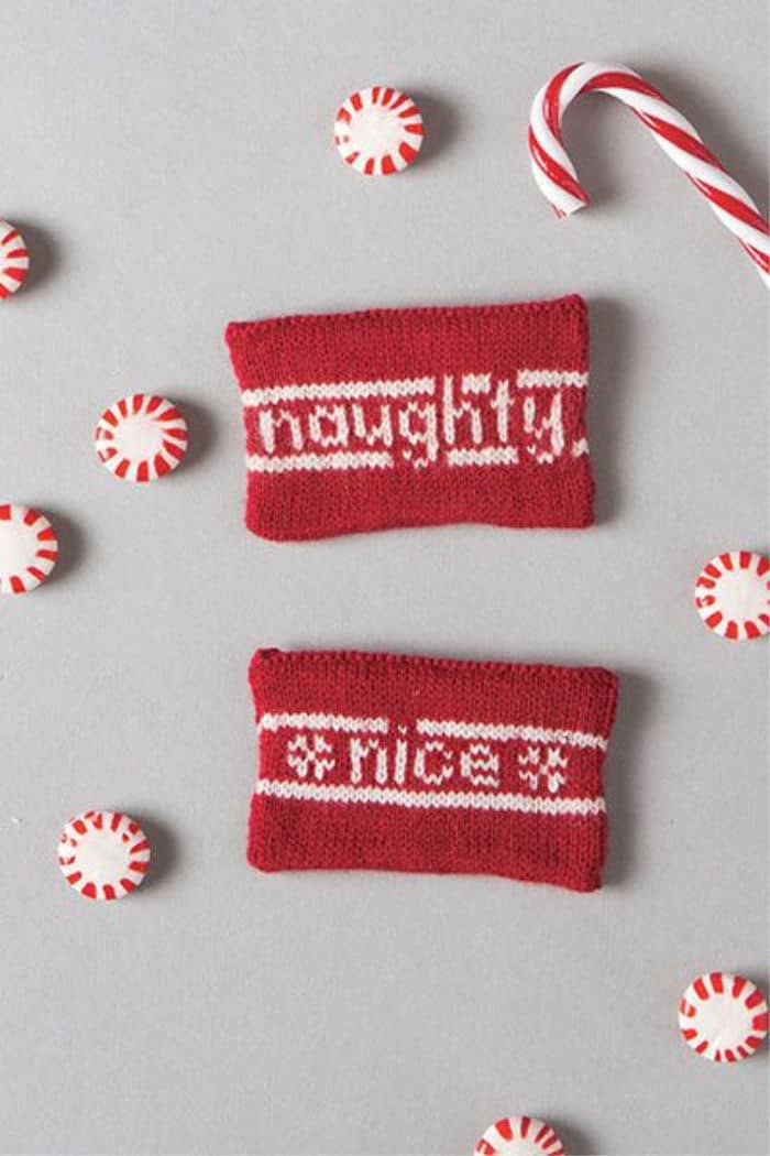 Naughtly or Nice knitted Gift card holders
