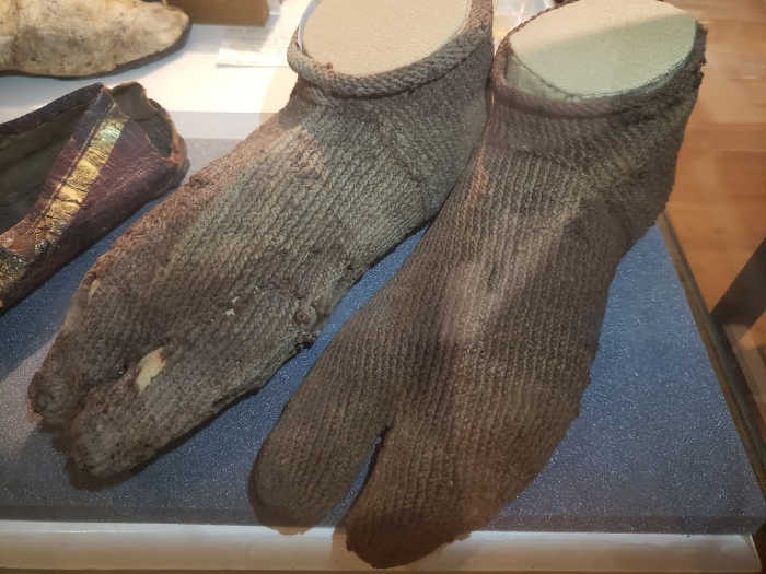 Ancient knitted socks at the Petrie Museum of Archaeology London