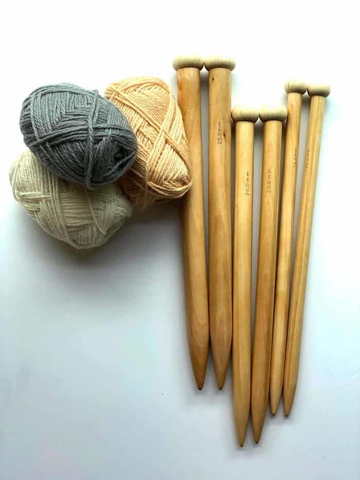 Large Bamboo Knitting Needles and yarn in gray and cream