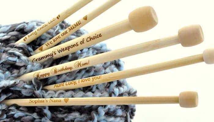 Personalized Engraved Bamboo Knitting Needles