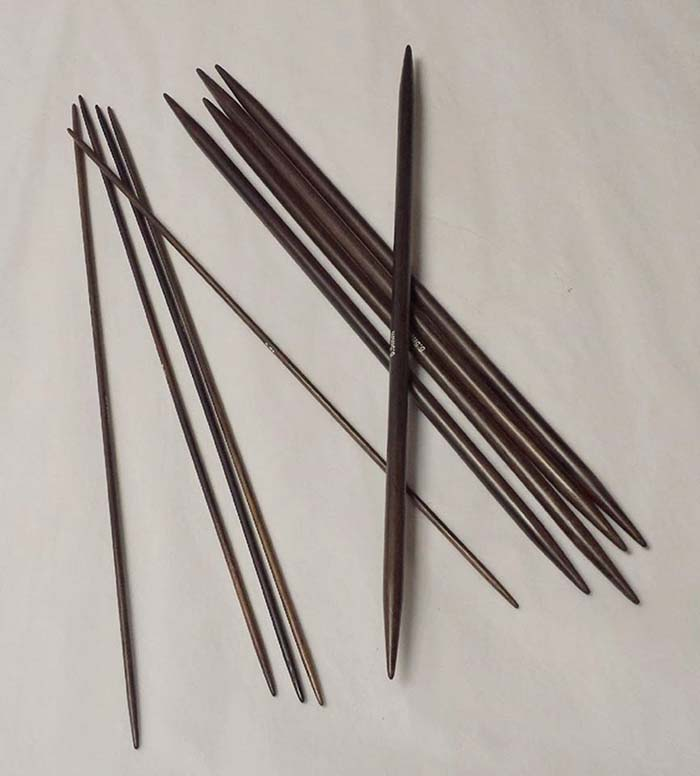 The Little Knitting Co Long 10 25cm inch Double Pointed Rosewood Knitting Needles