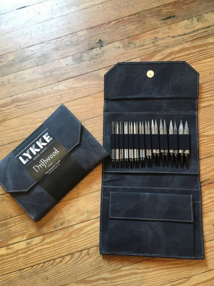 Lykke Driftwood Interchangeable Needles Set in a gray case. 12 different sizes at Finch Sewing Studio