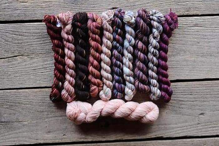 Koigu Scarlotto Kentia Wrap Kit - Purples, Reds, Pinks and main color of pale pink