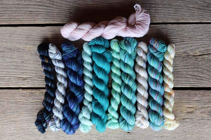 Koigu Original Kentia Wrap Kit - Blues, Turquoise, Aqua and the main color of cream/white