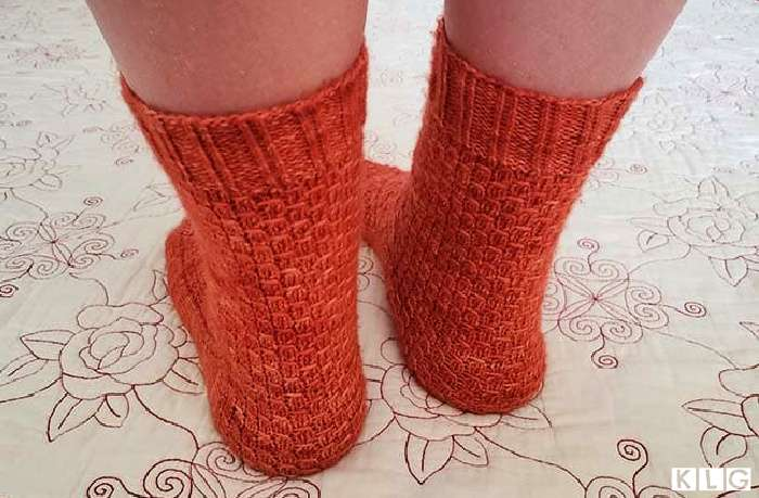 Smaug Socks from the back.