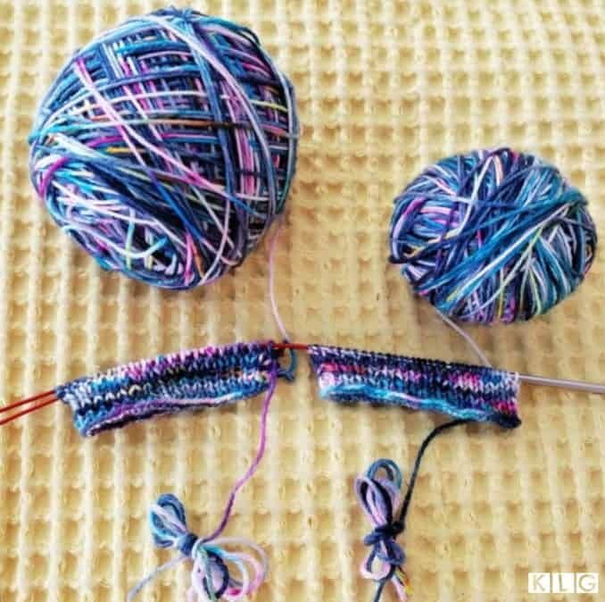 Beginning of Hermione's Everyday Socks knitting two socks at a time on circular needles using the magic loop method