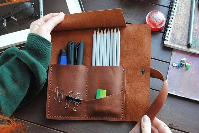 Leather Pencil Case by Darrell Standing