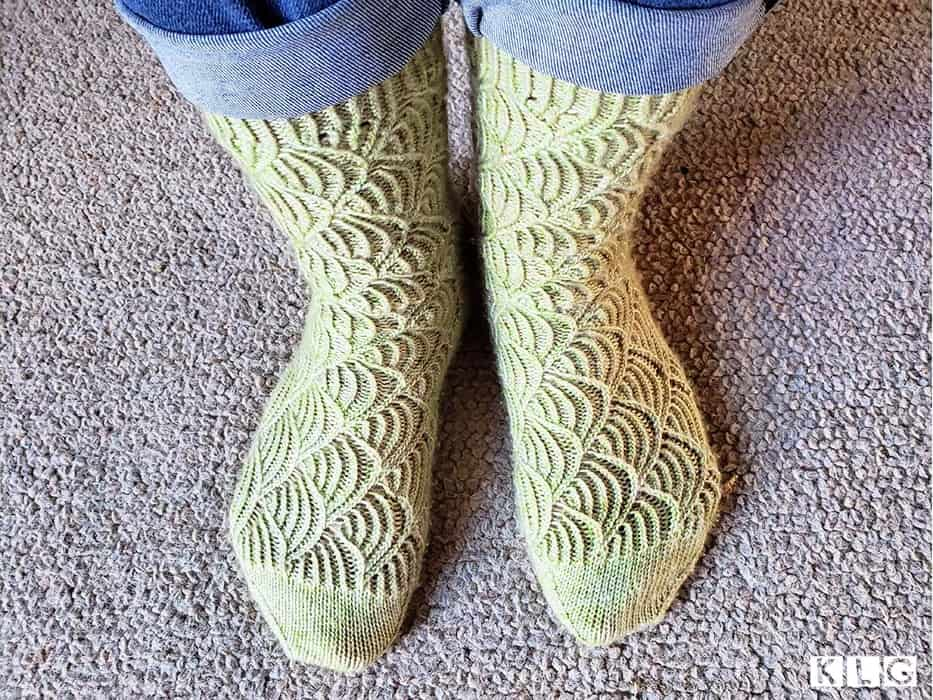 Finished Pomatomus Socks by designer Cookie A knitted by Jodie of Knit Like Granny