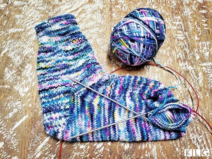 Hermione's Everyday Socks - one sock with cuff,  leg, heel, foot and up to where you close off the toe.