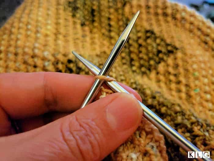 Casting off the last stitch of my Kentia Wrap. Chiaogoo Stainless Steel Knitting needles.