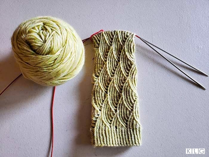 Leg of Pomatomus socks in progress. The fish scale stitch pattern looking gorgeous
