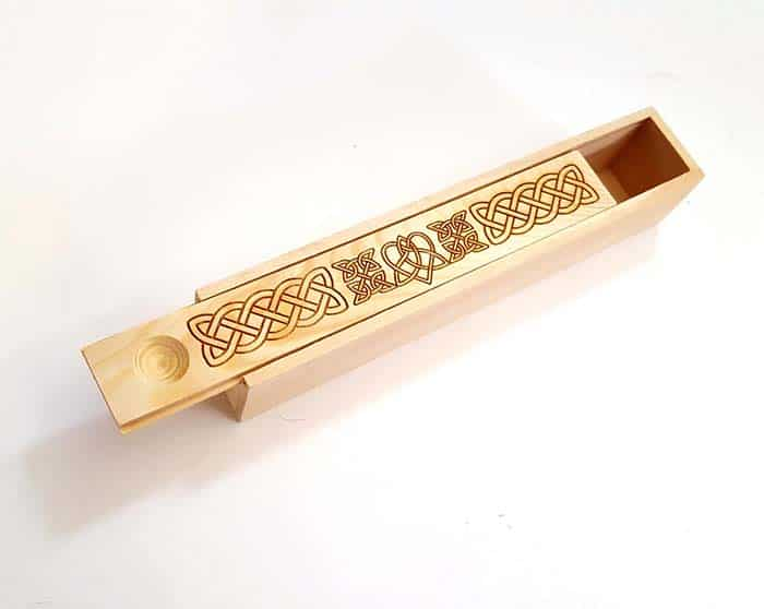 Wooden Celtic Love Knot Wood Pencil Box from Lyon Craft