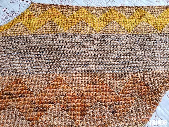 Orange and Yellow Mosaic sections with slip stitch section of blue