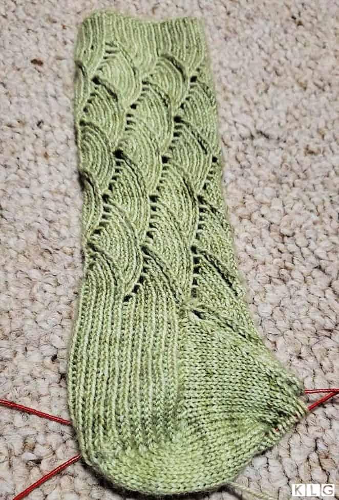 Heel flap, heel turn and gusset of my Pomatomus sock