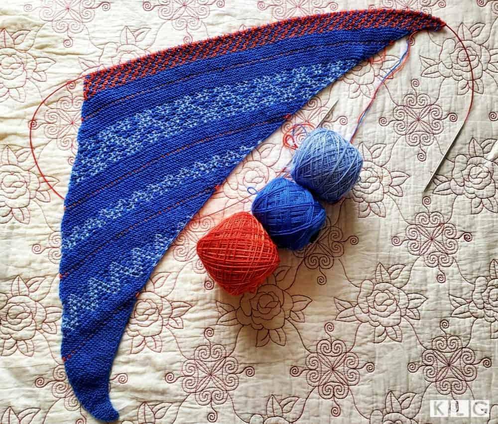 Slip Knit Shawl Progress