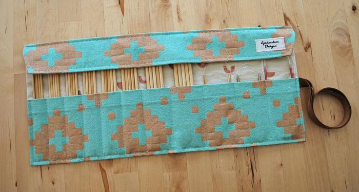 Double Pointed Needle Roll Up Case in turquoise and copper geometric shapes fabric. Epidrendron Designs Etsy Store