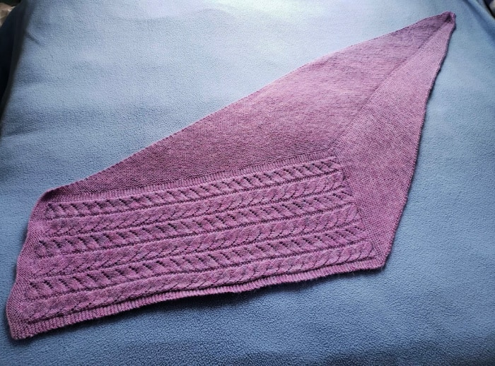 My Chasing Light Shawl complete in all its purple glory.