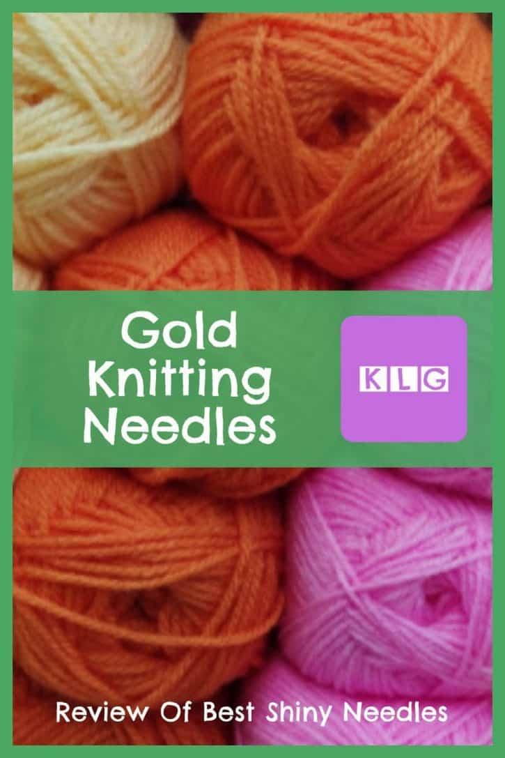 Gold Knitting Needles Pin