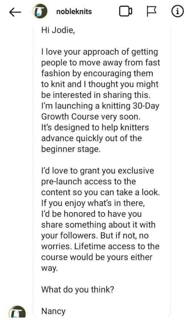 Message from Nancy Queen on instagram