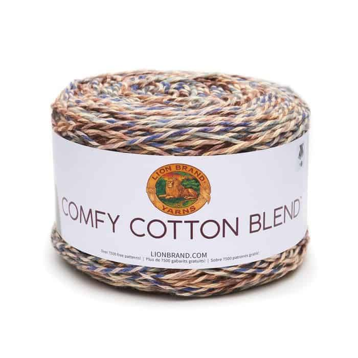 Comfy Cotton Blend Yarn Lion Brand in Driftwood colorway - Stripes of colonial blue, taupe, chocolate, and pale blue plied with buttercream