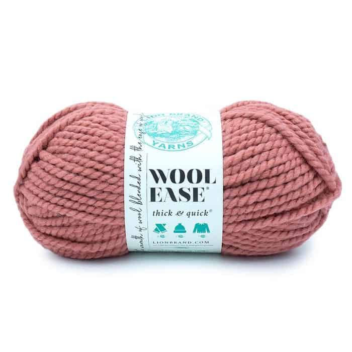 Lion Brand Thick & Quick Yarn in Terracotta colorway a dusty pink color