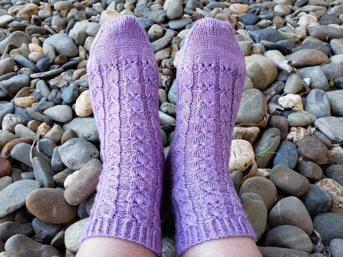 My Fairy Maiden Socks complete in purple merino/silk yarn
